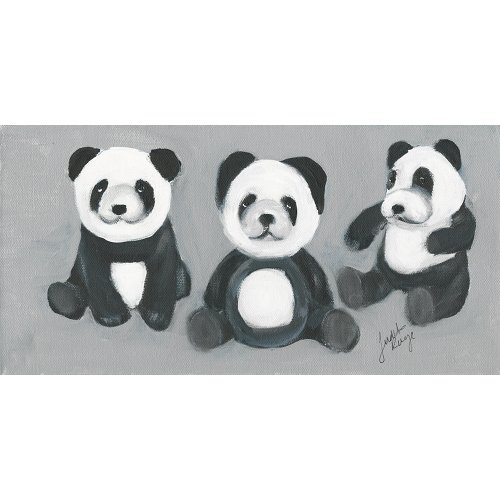 Judith Raye Paintings LLC Three Panda Bears by Judith Raye Painting Print