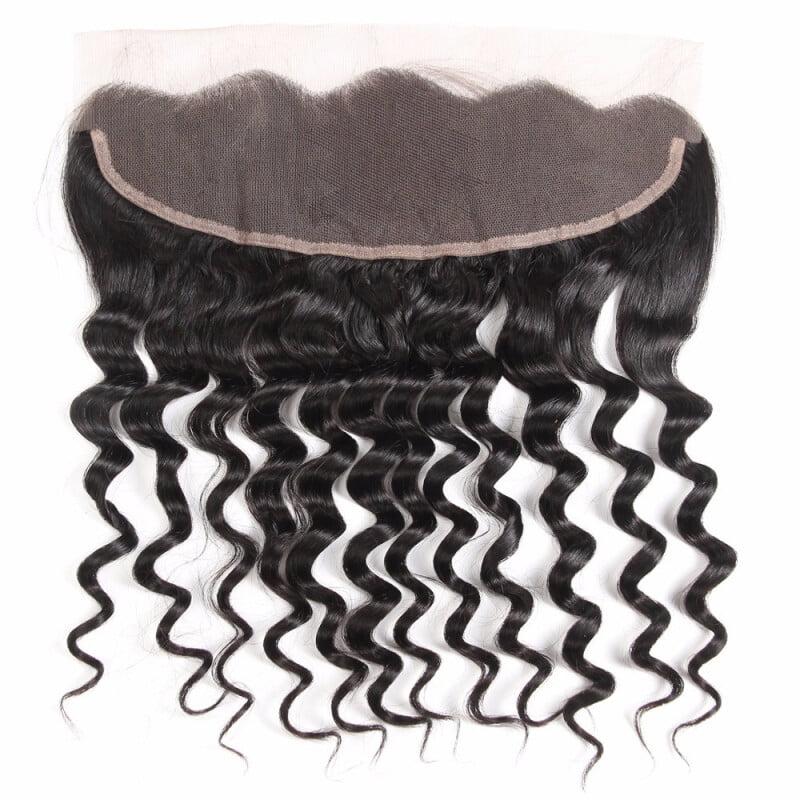 "HCDIVA Peruvian virgin Human Hair Closure Loose Wave Lace Frontal ear to ear 13*4 inch Free Part, 12"""