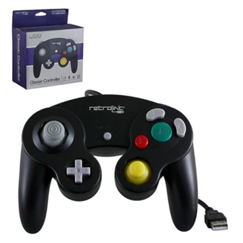 Wired Nintendo GameCube Style USB Controller For PC And Mac Black