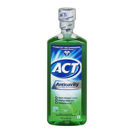 (2 Pack) ACT Mint Anticavity Flouride Mouthwash, 18 oz.
