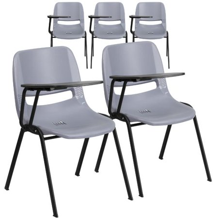 - Flash Furniture 5 Pk. Gray Ergonomic Shell Chair with Right Handed Flip-Up Tablet Arm