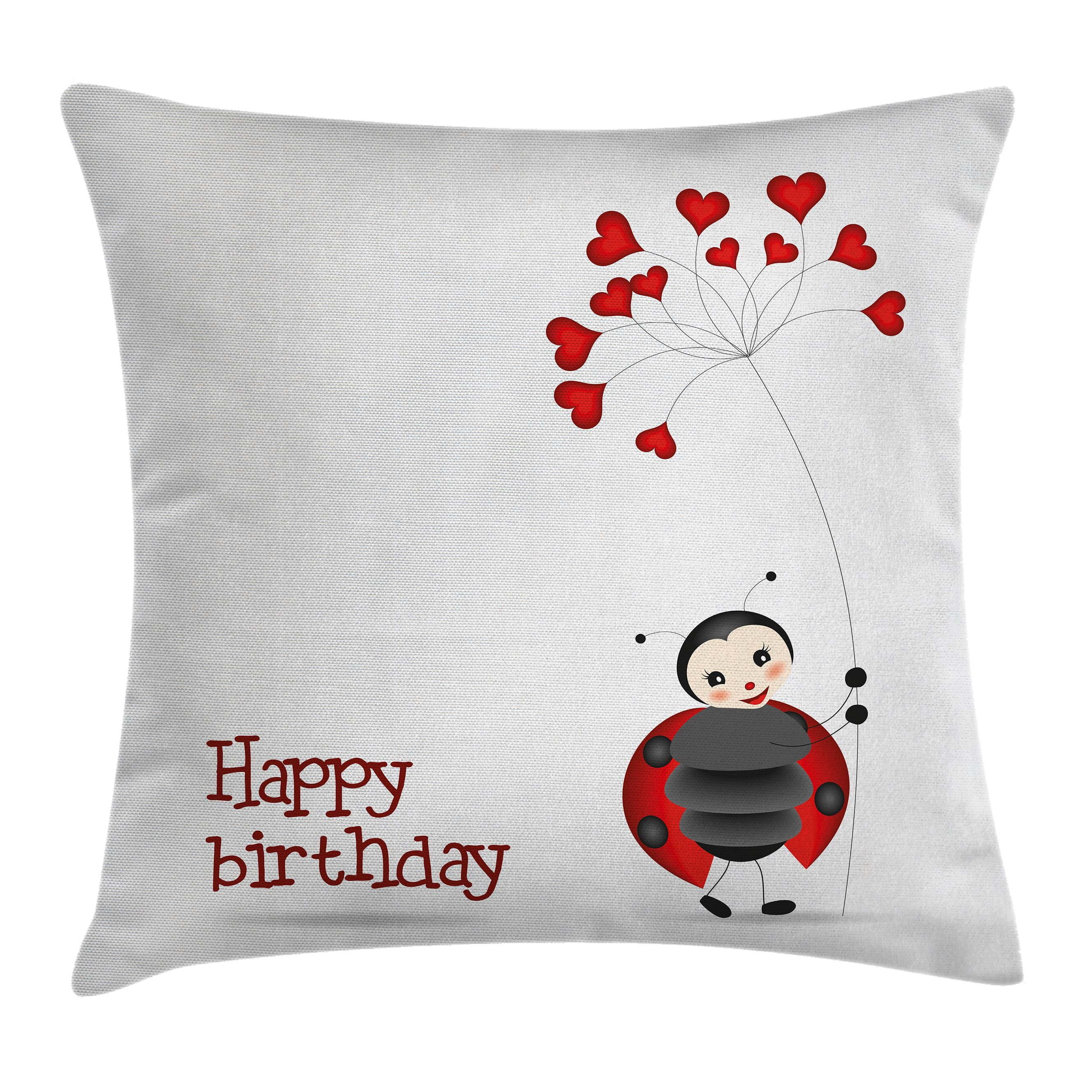 Birthday Decorations for Kids Throw Pillow Cushion Cover, Ladybug Wings Flower Inspired Heart Shaped Balloons, Decorative Square Accent Pillow Case, 16 X 16 Inches, Red Black and White, by Ambesonne