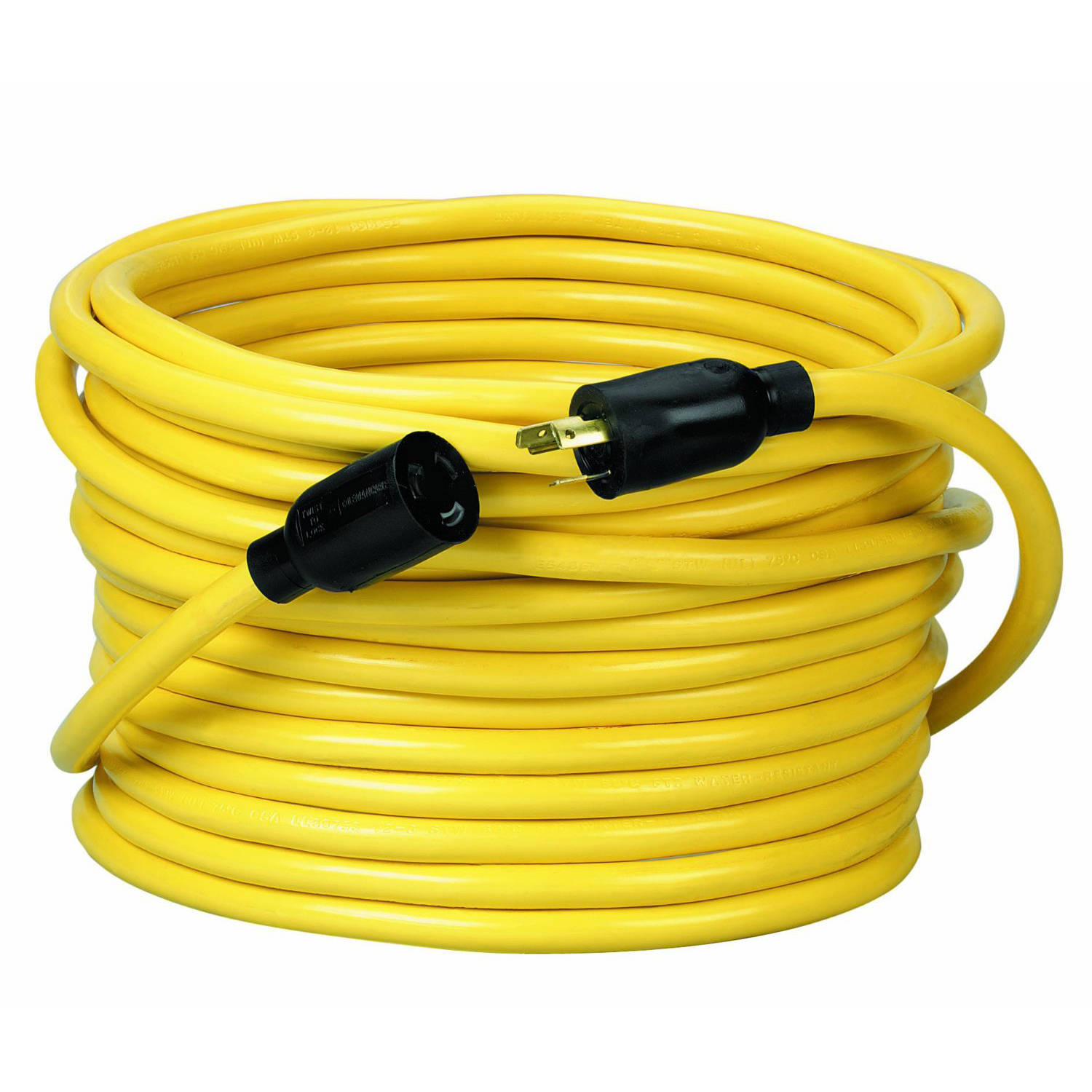 Coleman Cable 09208 12/3 SJTW Twist To Lock Extension Cord, 20-Amp, 50-Foot, Yellow