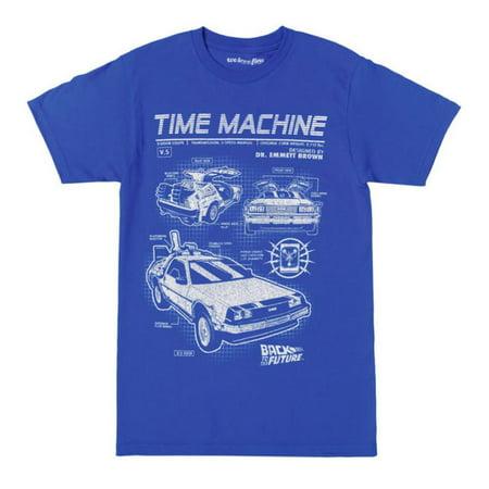 Back To The Future Time Machine Blueprints Mens Blue T-Shirt |