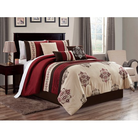 7-Pc Brice Floral Damask Shell Butterfly Embroidery Pleated Stripe Comforter Set Burgundy Brown Beige (Brown Damask Stripe)