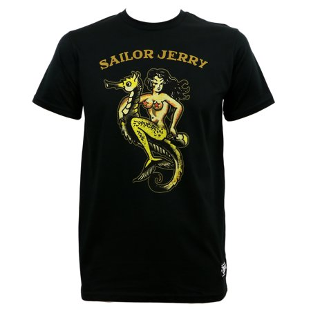 Sailor Jerry Mens Pin Up Of The Sea Girl And Seahorse Black Slim Fit T-Shirt](Men Sailor)