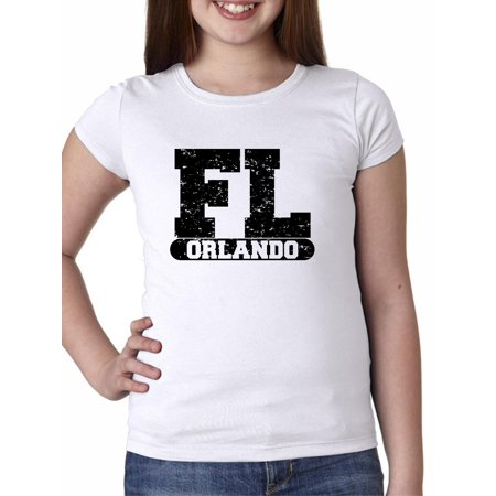Orlando, Florida FL Classic City State Sign Girl's Cotton Youth T-Shirt - Party City In Orlando Fl