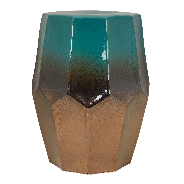 """Better Homes & Gardens 17"""" Presidio Ceramic Garden Stool in Teal/Pewter"""