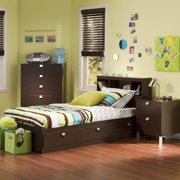 South Shore Spark 3 Piece Kids Bedroom Set Twin Chocolate