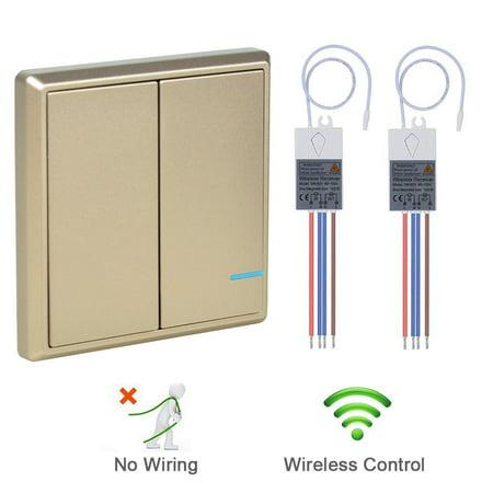GREENCYCLE Smart Wireless Wall Light Switch, 1PK 2-gang Wireless Switch on