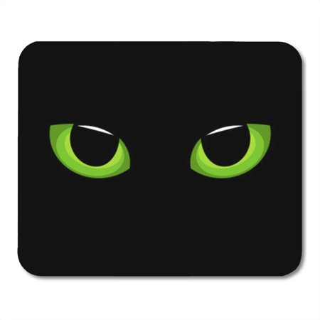 LADDKE Halloween Hypnotic Green Cat Eyes in Darkness Cartoon Cute Mousepad Mouse Pad Mouse Mat 9x10 - Halloween Cartoon Cats