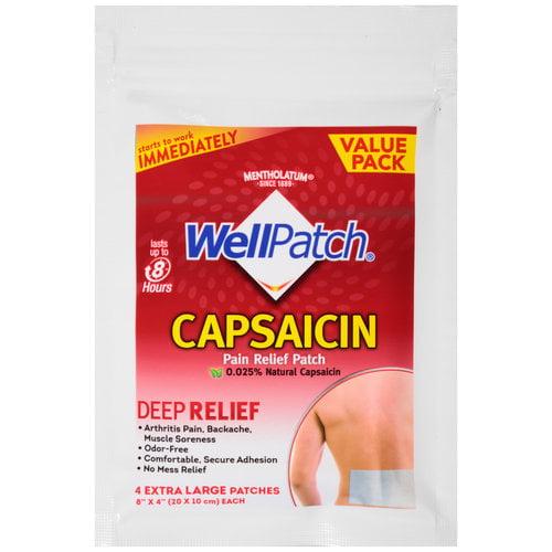 Mentholatum WellPatch Capsaicin Pain Relief Patches, 4 count