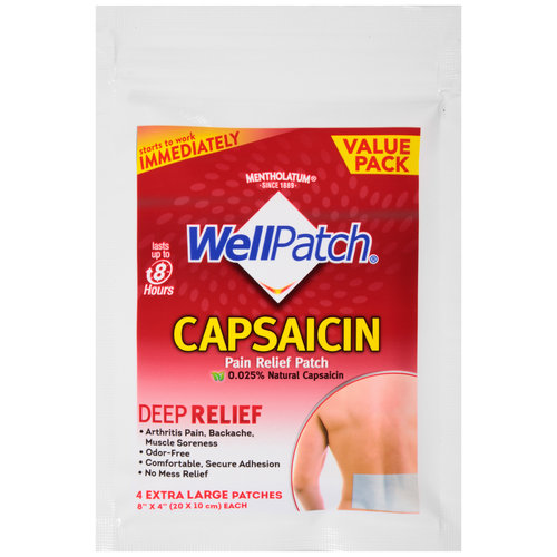 Mentholatum WellPatch Capsaicin Pain Relief Patches, 4 count