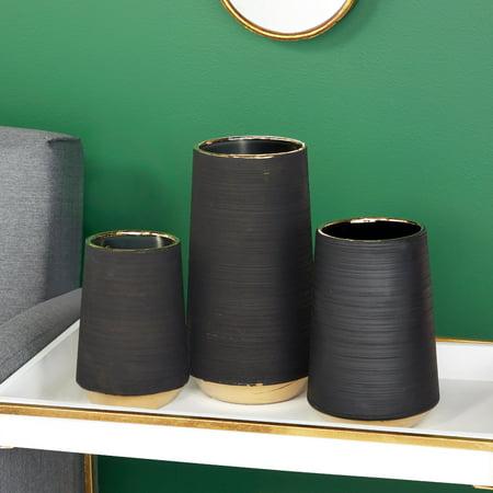 "CosmoLiving Extra Large, Round Matte Black Porcelain Vase with Metallic Gold Rim & Ridged Texture | 6"" x 11"""