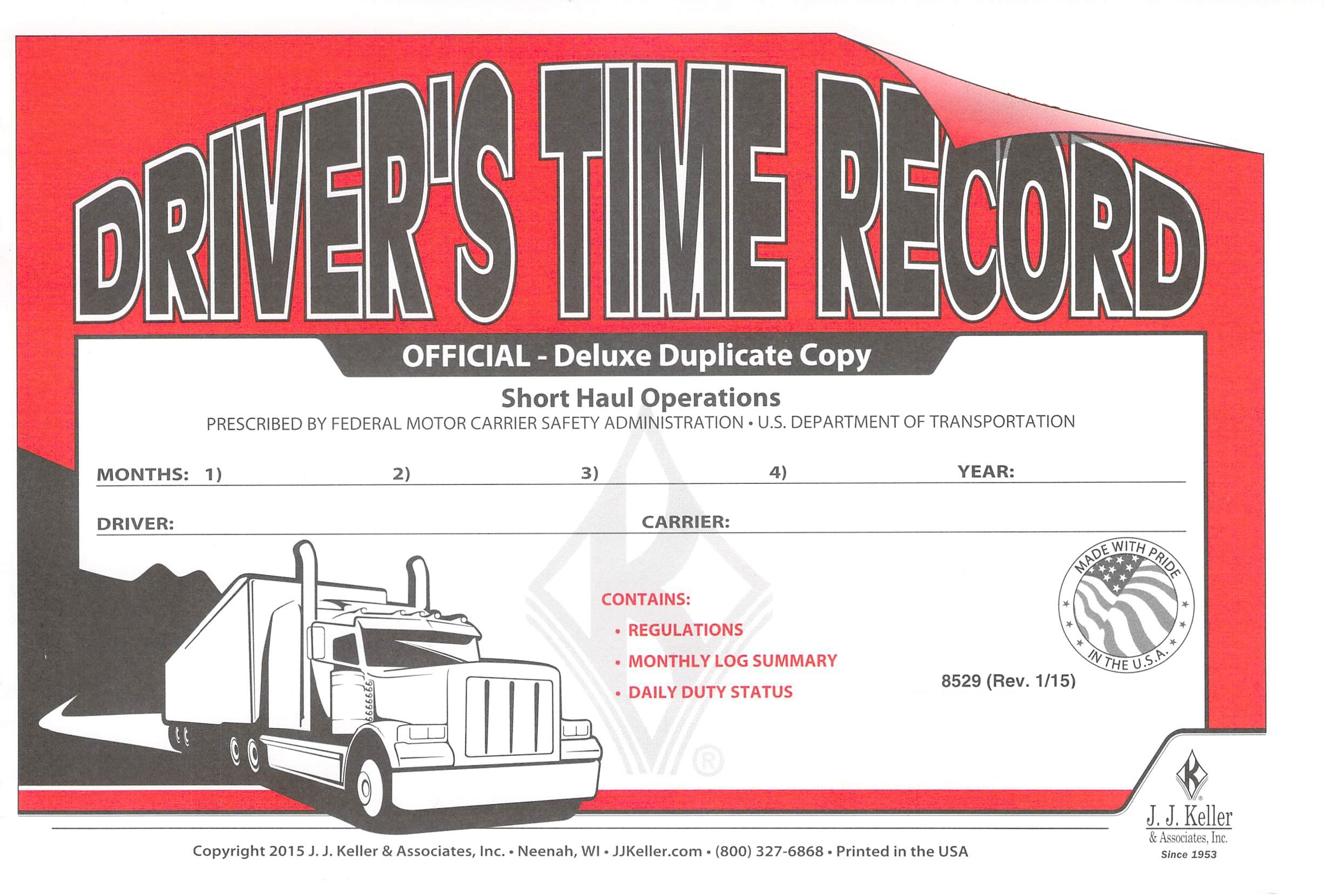 J.J. Keller 8529 (691L) Drivers Exemption Log Book- Short-Haul Operations 50 Pack by J.J. Keller