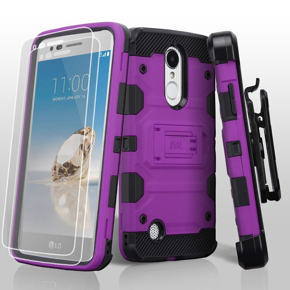 LG Aristo phone case, LG K8 2017 phone case, LG K4 2017 phone case, by Insten 3-in-1 Storm Tank Hybrid Stand Holster Combo Case For LG Aristo/Fortune/K4 (2017)/K8 (2017)/LV3/Phoenix 3 - Purple/Black - image 3 de 3
