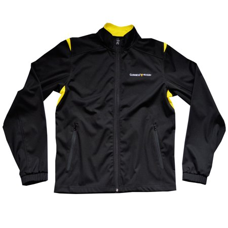 Guinness Men' Black  Rugby Performance Full Zip Jacket With Irish Harp And Yellow Design