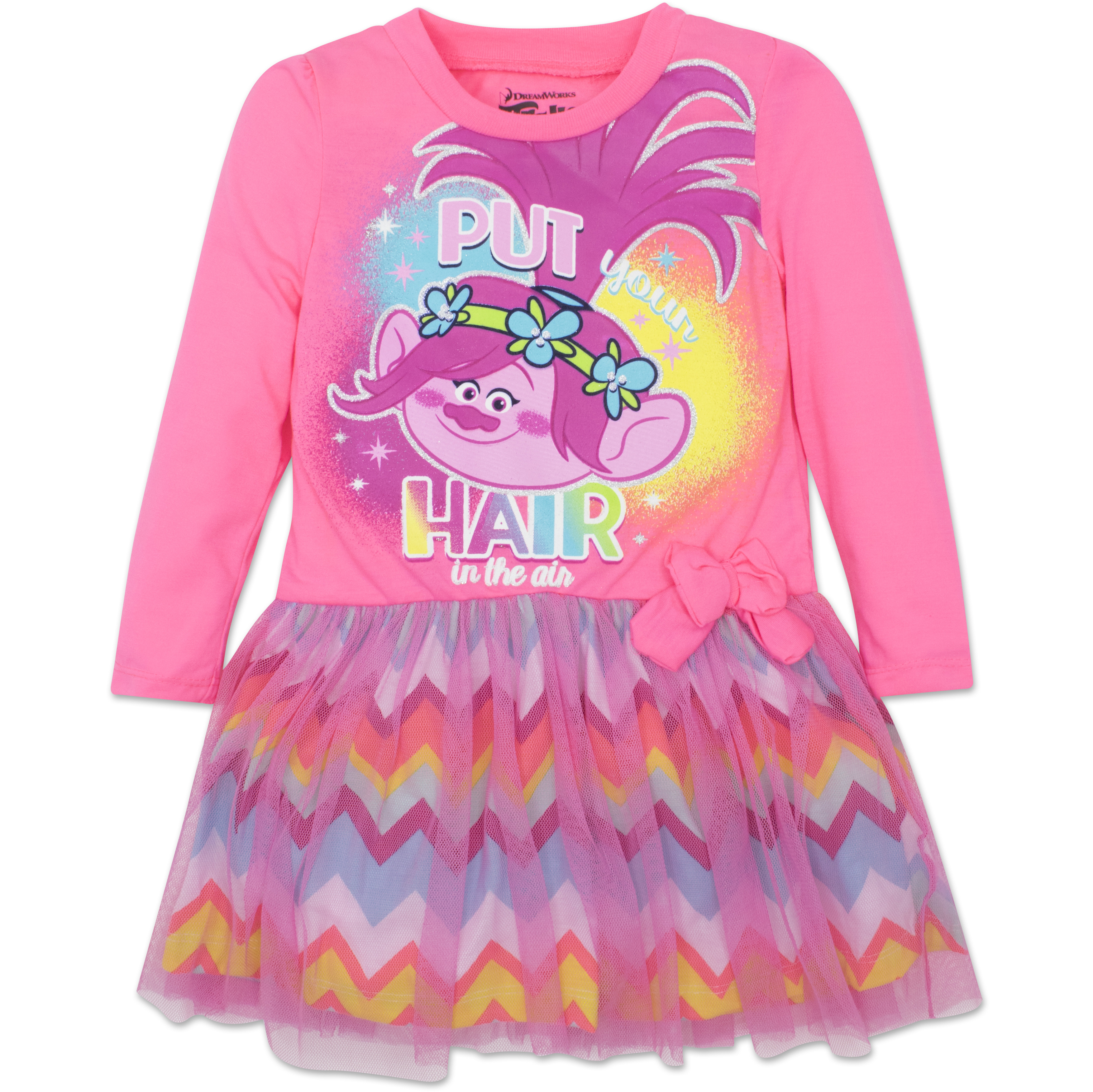 Toddler Girls' Trolls Poppy Pink Dress with Long Sleeves