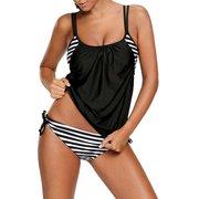 LELINTA Women's Set Stripes Lined Up Double Up Tankini Swimwear Swimsuit Four Color Black/Dark Blue/Red/Light Blue