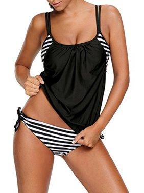 6f39721c675 Product Image LELINTA Women's Stripes Lined Up Double Up Tankini Bikini Top  Black Bikini Sets Swimsuit