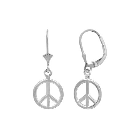 Sterling Silver Peace Sign Leverback Earrings
