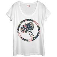 Marvel Women's Hammer Thor Floral Print Scoop Neck T-Shirt