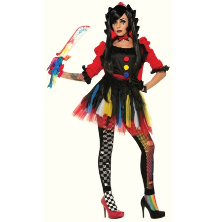 The Twisted Clowness Womens Adult Evil Jester Halloween Costume