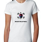 South Korea  Olympic - Beach Volleyball - Flag - Silhouette Women's Cotton T-Shirt