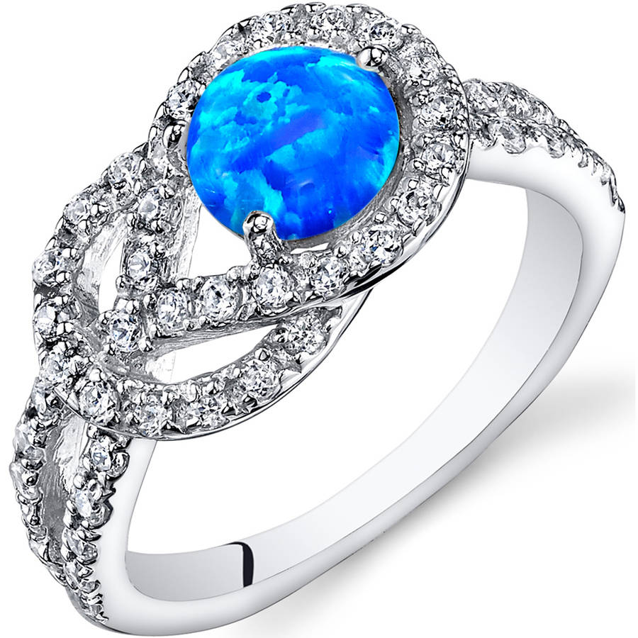 Oravo 0.50 Carat T.G.W. Created Blue Opal Engagement Ring in Rhodium-Plated Sterling Silver