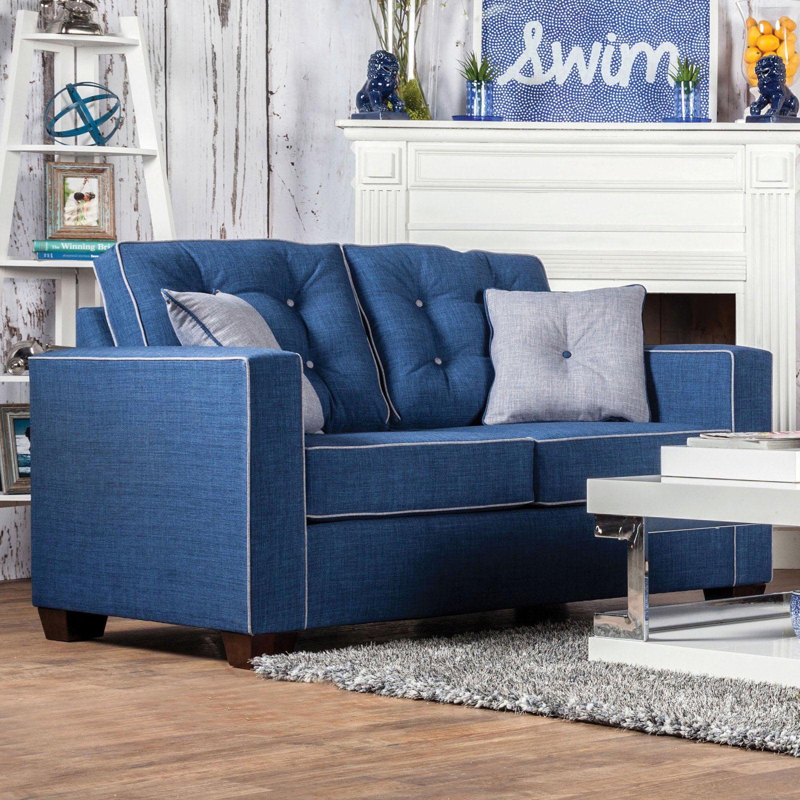 Furniture of America Rinella Contrasting Welt Trim Loveseat