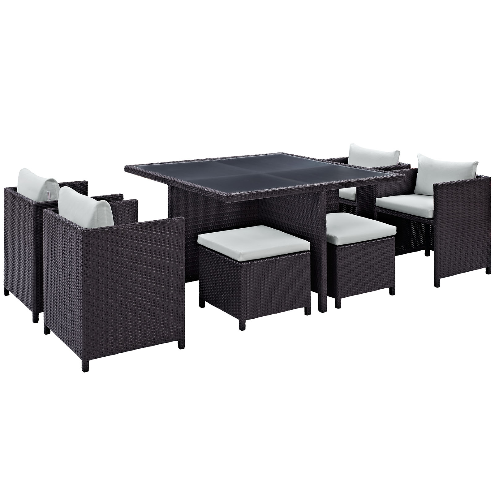 Modern Contemporary 9 Pcs Outdoor Patio Dining Set, White Plastic
