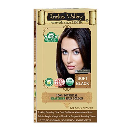 Indus Valley 100% Organic & Chemical Free Botanical One Touch Pack hair Colour For Soft Black Hairs