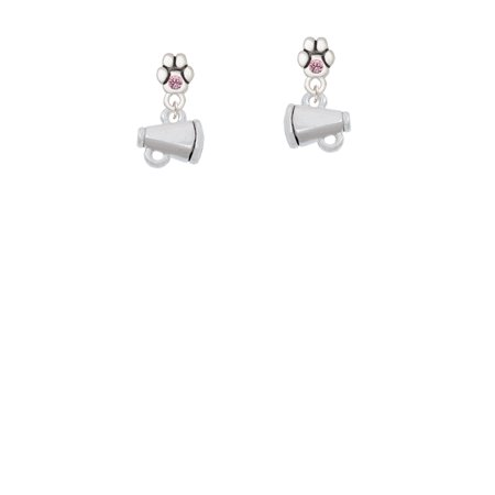 Mini Megaphone - Light Pink Crystal Paw Earrings (Mini Megaphones)