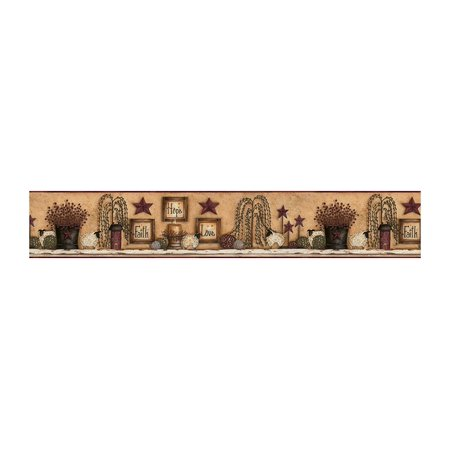 York Wallcoverings Border Portfolio CN1136BD Faith Hope Love Shelf Border, White / Beige / Tan / Barn Red