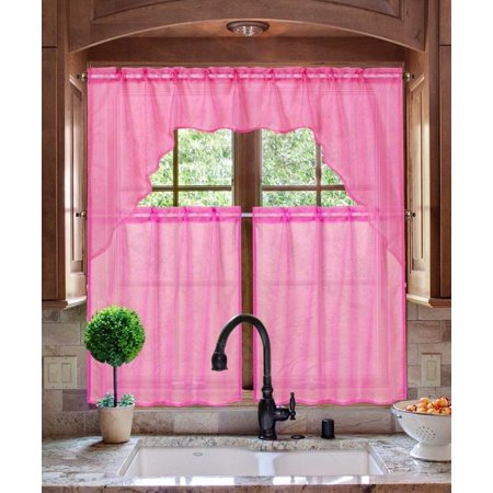 K66 HOT PINK 3-PC Luxurious Sheer Organza Kitchen Rod Pocket Window Curtain Treatment Set, Beautiful Solid Tier Panels with Matching Valance Swag