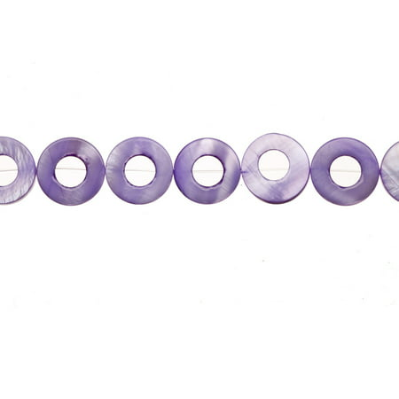Shell Bead, Purple(Dyed) Mother-Of-Pearl, Donut Plate, 17x17mm 16 Inch (Donut Plates)
