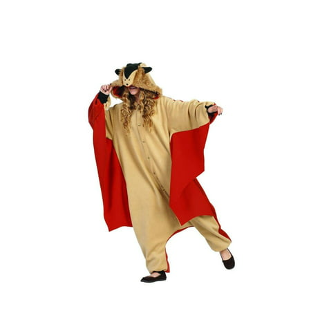 Funsies Kigurumi Skippy Flying Squirrel Fleece Jumpsuit Costume Adult One Size (Flying Squirrel Costume)