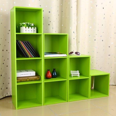 Anauto Wood Display Shelf Storage Bookshelf 4Tier Bookcase Stand Rack Cube Unit (4 Cubes, Green)