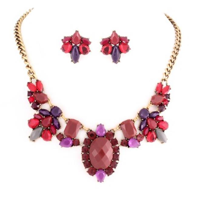 C Jewelry Red And Purple Stone With Multicolor Crystal Necklace Earring Set