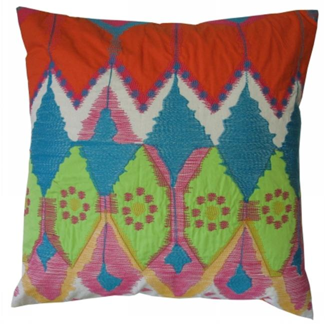 Koko Company Java Bright- Pillow Cotton- Ikat Inspired- Embroidery And Applique.