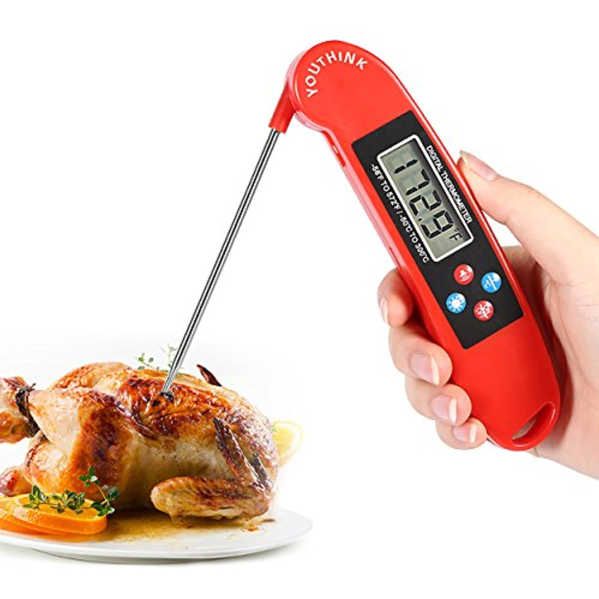 Cooking Thermometer Voice Function Digital Thermometer Folding Probe Meat Thermometer Fast Read Kitchen Thermometer with Backlight LCD Display for Grill BBQ Candy Bath Water