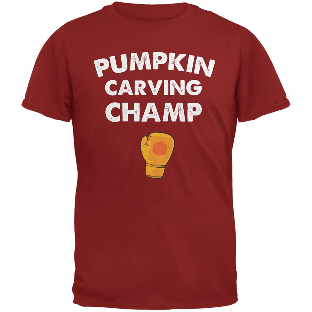 Halloween Pumpkin Carving Champ Cardinal Red Adult T-Shirt