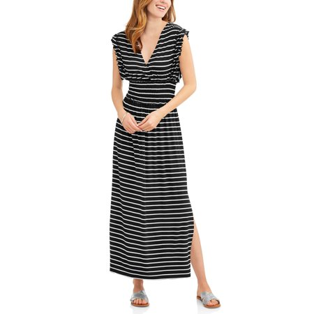 Time and Tru Women's Smock Waist Maxi Dress with Flutter Sleeves