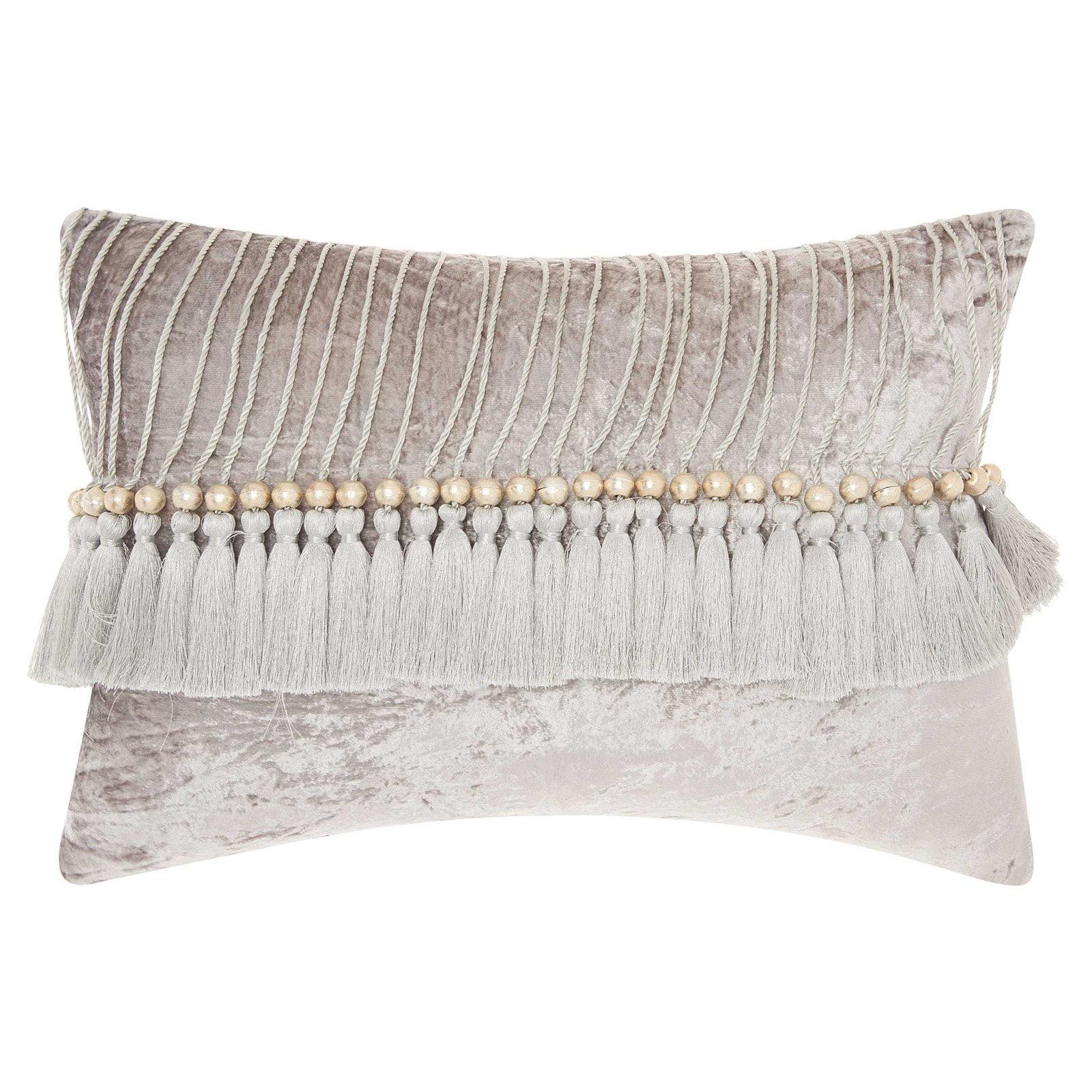 Nourison Life Styles Velvet Tassels Ivory Decorative Throw Pillow, Ivory