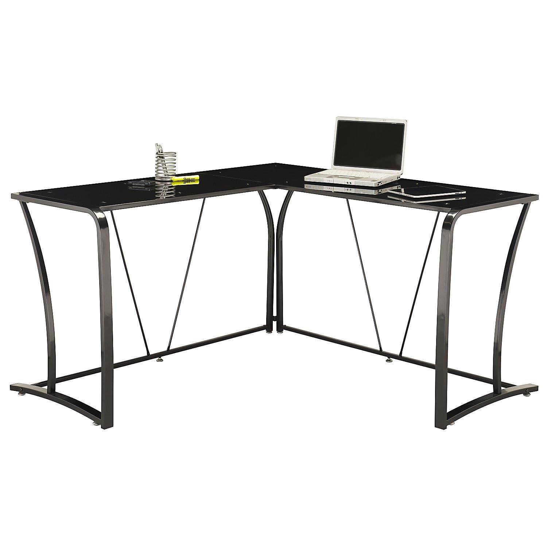 Metal & Glass L-Desk