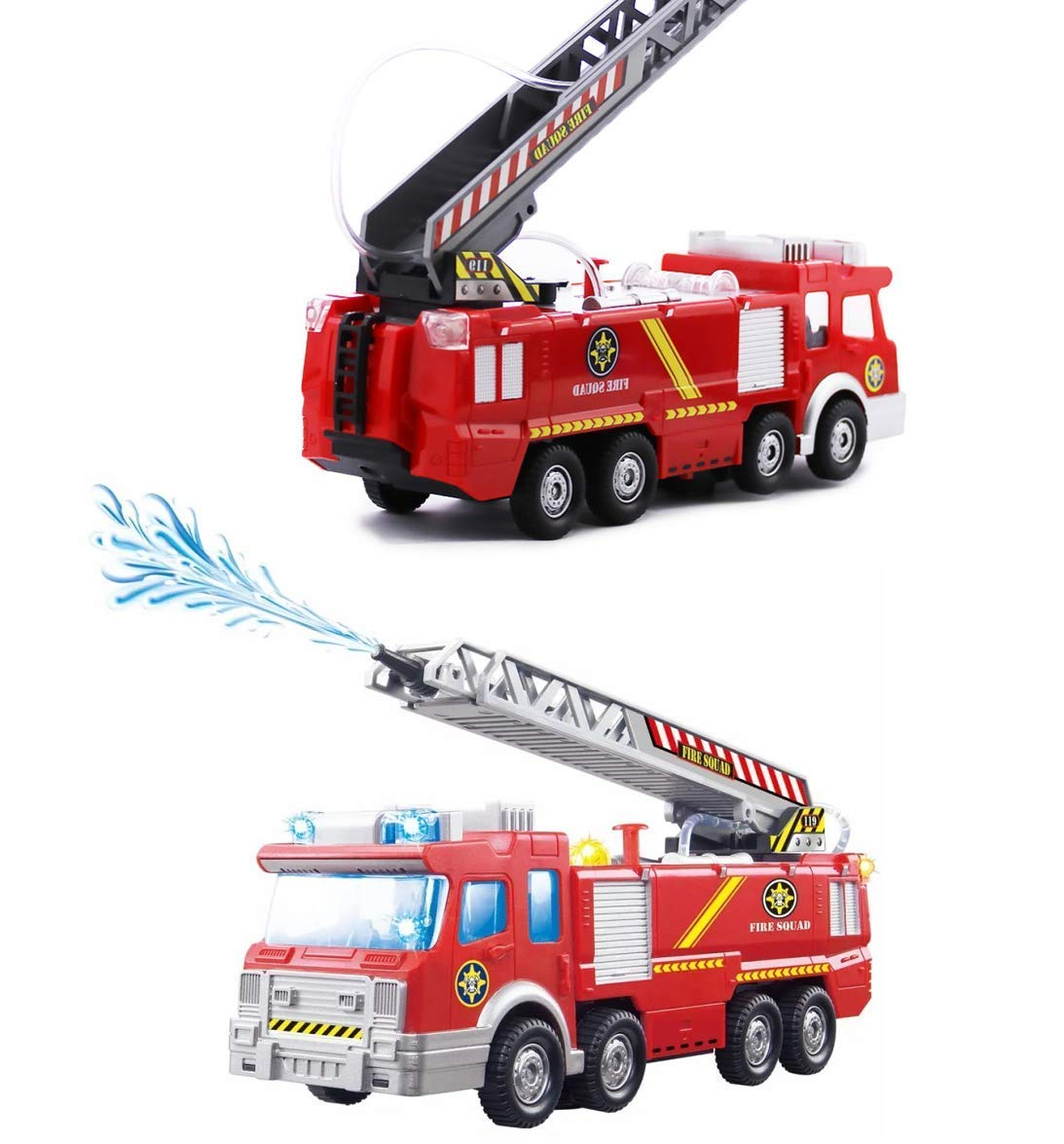 Electric Fire Truck Toy Battery Operated Electric Car Rescue Vehicle w/ Manual Water Pump Extending Ladder , Flashing Lights & Sirens Sounds , Bump & Go Action Fire Truck Toy for Kids