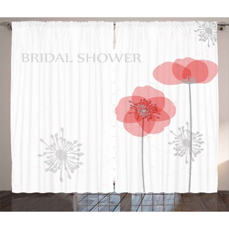 Bridal Shower Decorations Curtains 2 Panels Set, Modern Poppy Flower Buds Abstract Shadow Design Image, Window Drapes for Living Room Bedroom, 108W X 90L Inches, Light Grey and Salmon, by Ambesonne