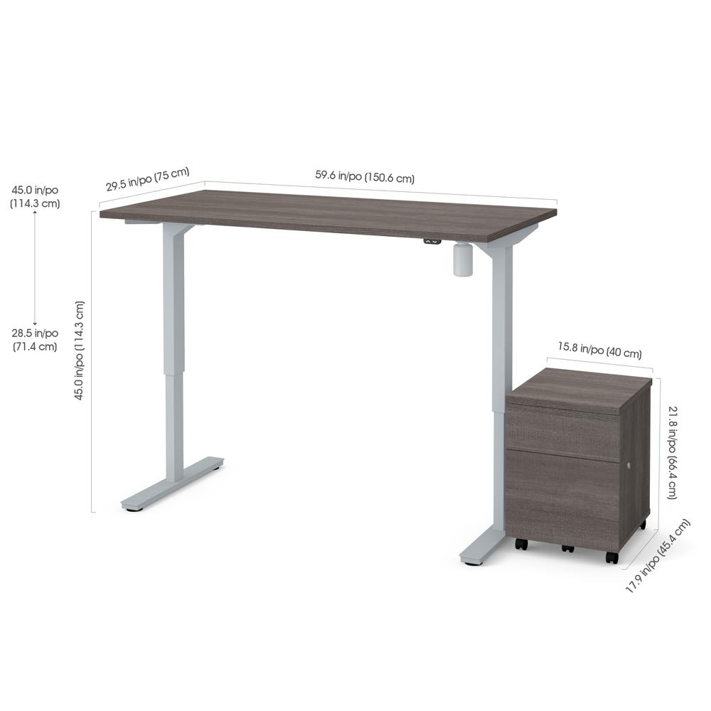 """Bestar 2-Piece 30"""" x 60"""" Electric Height adjustable table and Mobile filing cabinet in Bark Gray by"""