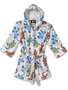 Komar Kids Ocean Print Cotton Hooded Terry Boys Robe Cover Up , Sizes 4-12, White, Size: X-Small / 3-4
