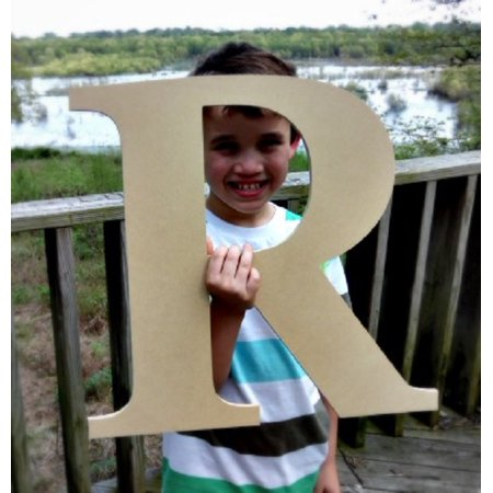 Hanging Wooden Wall Letters - Wooden Craft Letter, Wall Hanging, 12'' Times R, Paintable Letter
